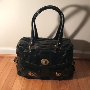 COACH Black Large Patent Gallery Tote Two Zippers